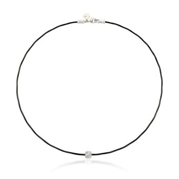"""ALOR Noir Black Stainless Steel Cable Necklace With Diamond Station in 18-Karat White Gold. 17"""""""