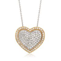 2.10 ct. t.w. Pave Diamond Heart Pendant Necklace in 14kt Two-Tone Gold. 16&..