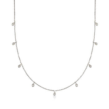 Italian .28 ct. t.w. Diamond Station Necklace in 14kt White Gold
