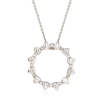 Roberto Coin .80 ct. t.w. Diamond Open Circle Necklace in 18kt White Gold. 16""
