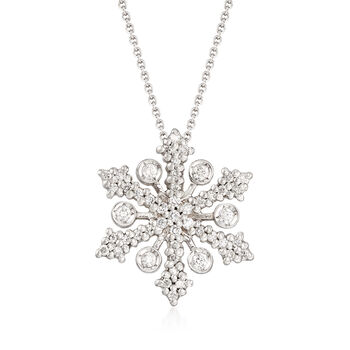 "Roberto Coin ""Tiny Treasures"" .32 ct. t.w. Diamond Snowflake Necklace in 18kt White Gold. 16.5"""