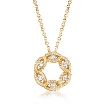 """Roberto Coin Barocco Diamond Accent Open Cluster Necklace in 18kt Yellow Gold. 16.25"""""""