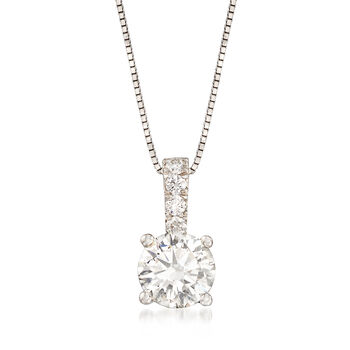 """1.05 ct. t.w. Diamond Pendant Necklace in 14kt White Gold. 18"""""""