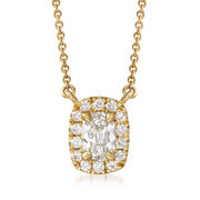 """Henri Daussi .52 ct. t.w. Diamond Halo Necklace in 18kt Yellow Gold. 16"""""""