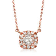 Henri Daussi .50 ct. t.w. Diamond Halo Necklace in 18kt Rose Gold. 16""