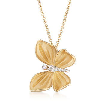 """Simon G. Diamond-Accented Butterfly Drop Necklace in 18kt Yellow Gold. 17"""""""