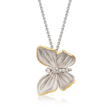 """Simon G. 18kt Two-Tone Gold Butterfly Necklace With Diamond Accents. 17"""""""