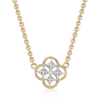 """Simon G. 18kt Two-Tone Gold Openwork Clover Necklace With Diamond Accents. 17"""""""