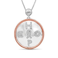 """.20 ct. t.w. Diamond """"Hope"""" Pendant Necklace With Cancer R.."""