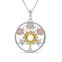 """Star of David Pendant Necklace in Tri-Colored Sterling Silver. 18"""""""