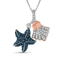 .32 ct. t.w. Blue and White Diamond Sea Life Pendant Necklace in Two-Tone St..