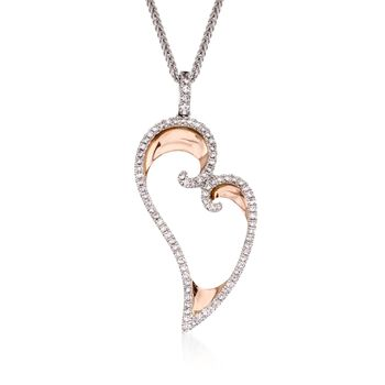 Simon G. .50 Carat Total Weight Diamond and 18-Karat Two-Tone Gold Heart Necklace. 17""