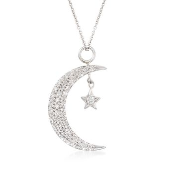 Roberto Coin .29 Carat Total Weight Diamond Sun and Moon Necklace in 18-Karat White Gold. 16""