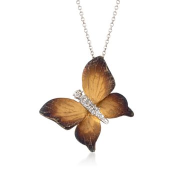 """Simon G. .10 Carat Total Weight Diamond Butterfly Pendant Necklace in 18-Karat Two-Tone Gold. 17"""""""