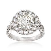Majestic Collection 4.04 ct. t.w. Diamond Halo Ring in 14kt White Gold
