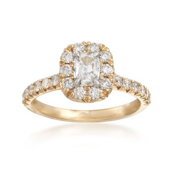 Henri Daussi 1.14 Carat Total Weight Diamond Ring in 14-Karat Yellow Gold. Size 6.5