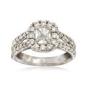Henri Daussi 1.40 ct. t.w. Diamond Halo Engagement Ring in 18kt White Gold