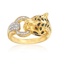 """Image of """".10 ct. t.w. Diamond Cheetah Ring in 18kt Gold Over Sterling. Size 7"""""""
