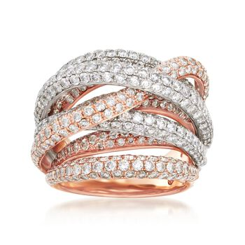 Roberto Coin 4.99 ct. t.w. Diamond Crossover Ring in 18kt Two-Tone Gold