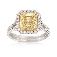 4.15 ct. t.w. Fancy Light Yellow and White Diamond Engagement Ring in 18kt W..