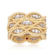 Roberto Coin Barocco 1.40 Carat Total Weight Diamond Triple Braid Ring in 18-Karat Yellow Gold. Size 7