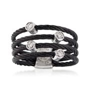ALOR Noir Black Multi-Cable Band With 18kt White Gold and Diamond Accents. Size 7
