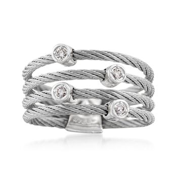 ALOR Classique Gray Stainless Steel Multi-Cable Band With 18-Karat White Gold and Diamond Accents. Size 7