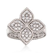 Roberto Coin Princess Flower .45 Carat Total Weight Diamond Ring in 18-Karat White Gold. Size 6.5