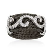 ALOR Noir .32 Carat Total Weight Diamond and Black Stainless Steel Cable Swirl Ring With 18-Karat White Gold. Size 7