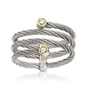 ALOR Classique Gray Stainless Steel Cable Coil Ring With Diamonds and 18-Karat Yellow Gold. Size 7