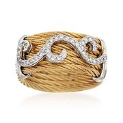 ALOR Classique .32 Carat Total Weight Diamond and Yellow Stainless Steel Cable Swirl Ring With 18-Karat White Gold. Size 7