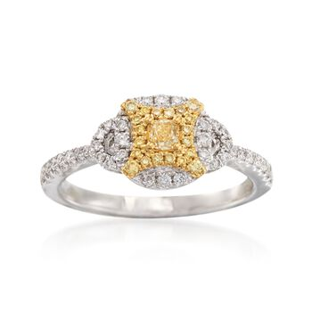Gregg Ruth .50 ct. t.w. Yellow and White Diamond Ring in 18kt White Gold