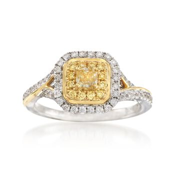 Gregg Ruth .68 Carat Total Weight Yellow and White Diamond Ring in 18-Karat Two-Tone Gold. Size 7