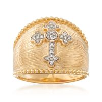 """Image of """".10 ct. t.w. Diamond Cross Ring in 18kt Gold Over Sterling. Size 6"""""""