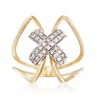 .31 ct. t.w. Diamond X Ring in 14kt Two-Tone Gold. Size 5