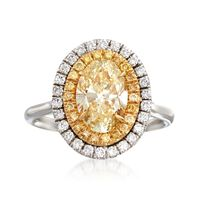 2.42 ct. t.w. White and Fancy Yellow Diamond Ring in 18kt Two-Tone Gold. Siz..