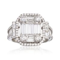 1.81 ct. t.w. Diamond Mosaic Ring in 18kt White Gold. Size 8