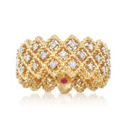 Roberto Coin Barocco .72 Carat Total Weight Diamond Triple-Crisscross Band in 18-Karat Yellow Gold. Size 7