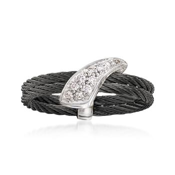 ALOR Noir Diamond Black Cable Ring With 18-Karat White Gold. Size 7
