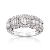 1.00 ct. t.w. Round and Baguette Diamond Illusion Ring in 14kt White Gold. S..
