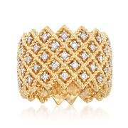 Roberto Coin Barocco 1.10 Carat Total Weight Diamond 5-Row Crisscross Ring in 18-Karat Yellow Gold. Size 7