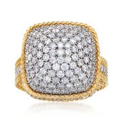 Roberto Coin Barocco 3.30 Carat Total Weight Diamond Ring in 18-Karat Yellow Gold. Size 7