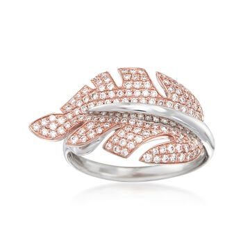 "Simon G. ""Garden"" .53 ct. t.w. Diamond Leaf Ring in 18kt Two-Tone Gold"
