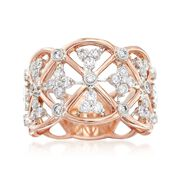 Simon G. Classic Romance .62 Carat Total Weight Diamond Openwork Band in 18-Karat Rose Gold. Size 7
