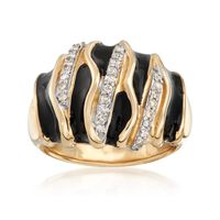Black Enamel and .24 ct. t.w. Diamond Ring in 14kt Yellow Gold. Size 9