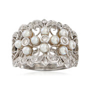 C. 1990 Vintage 3mm Cultured Pearl and .25 ct. t.w. Diamond Ring in 18kt White Gold. Size 6.5