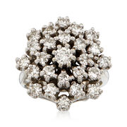 C. 1970 Vintage 1.75 ct. t.w. Diamond Cluster Ring in 14kt White Gold. Size 5.25