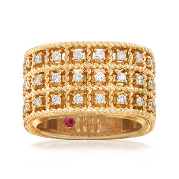 "Roberto Coin ""Barocco"" .62 ct. t.w. Diamond Three-Row Ring in 18kt Gold. Size 6.5"