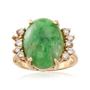 C. 1970 Vintage Nephrite Cabochon and .30 ct. t.w. Diamond Ring in 14kt Yellow Gold. Size 7.25