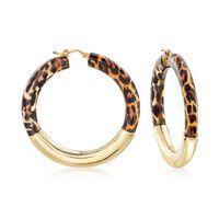 Italian Leopard-Print Enamel and 18kt Gold Over Sterling Hoop Earrings. 1 3/..